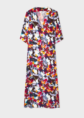 Paul Smith Women's 'Marble Floral' Print Button Front Midi Dress