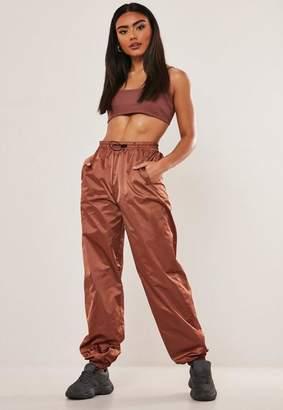 Missguided Bronze Toggle Front Shell Joggers