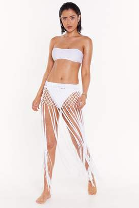 Nasty Gal Womens Sun Of A Beach Crochet Cover-Up Skirt - White - M/L