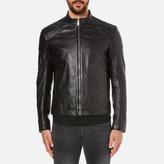 Hugo Lesson Leather Biker Jacket Black