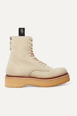 R 13 Suede Platform Ankle Boots - Beige