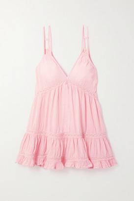 HONORINE India Crochet-trimmed Crinkled Cotton-gauze Mini Dress - Baby pink