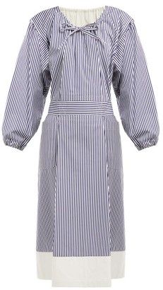 Comme des Garcons Drawstring-neck Striped Cotton Midi Dress - Womens - Navy