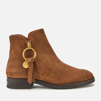 See by Chloe Women's Suede Flat Ankle Boots - Brown