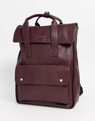 Asos Design DESIGN backpack with double straps in burgundy-Red