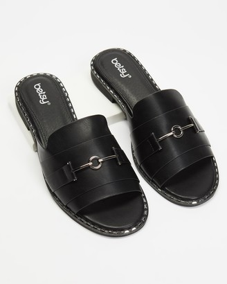 Betsy - Women's Black Flat Sandals - Horsebit Slides - Size 36 at The Iconic
