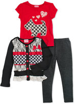Nannette Little Girls' 3-Piece Scottie-Dog-Print Sweater, T-Shirt & Leggings Set