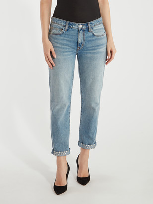 Current/Elliott The Turnt Fling Mid Rise Studded Straight Leg Jean