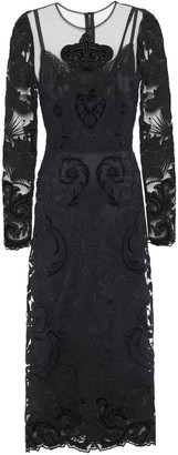 Dolce & Gabbana Appliqued And Embroidered Tulle Midi Dress