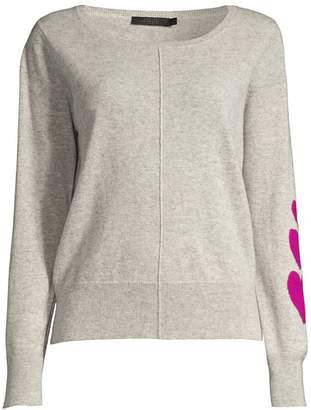 Raffi Heart Sleeve Cashmere Crewneck Sweater