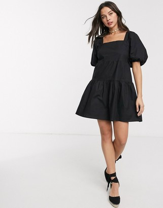 Influence puff sleeve tiered square neck mini smock dress in black