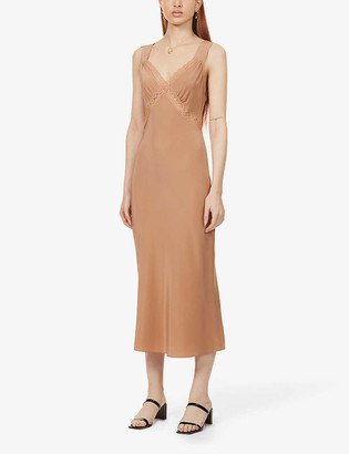 Reformation Provence cut-out silk-satin midi dress
