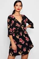 boohoo Sasha Floral Print Ruffle Smock Dress