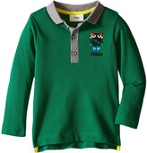 Fendi Long Sleeve Polo T-Shirt w/ Monster Logo Detail Boy's T Shirt