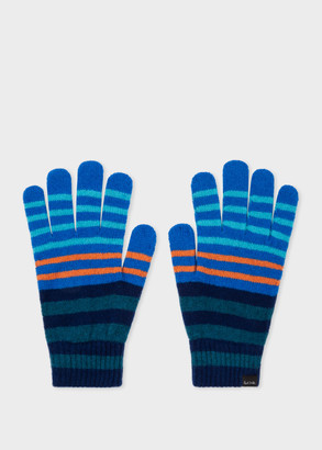 Paul Smith Men's Navy And Blue Stripe Lambswool Gloves