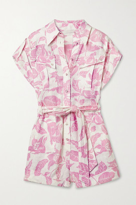 Zimmermann Bells Belted Printed Linen Playsuit - White