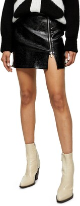 Lauren Croc Print Faux Leather Miniskirt