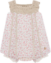 Carrera Pili Girl's Floral Print Crochet Trim Dress w/ Bloomers, Size 3-24 Months