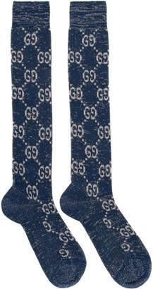 Gucci Blue and Silver GG Supreme Socks