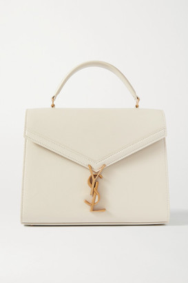Saint Laurent Cassandra Medium Textured-leather Tote - Off-white