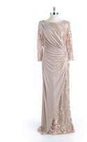 Tadashi Shoji Three-Quarter Sleeved Lace Sequined Gown