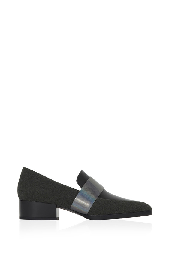 3.1 Phillip Lim Quinn Loafer In Black And Silver