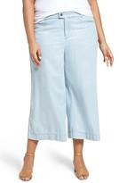 Foxcroft Plus Size Women's Pinstripe Denim Wide Leg Capri Pants