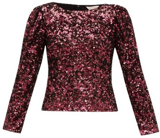 Rebecca Taylor Long Sleeved Sequinned Top - Womens - Burgundy