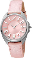 Just Cavalli 34mm Logo Stainless Steel Watch w/ Leather Strap, Pink