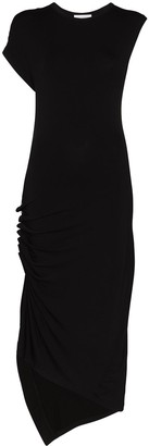 Paco Rabanne Asymmetric Gathered Midi Dress