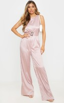 4fashion Dusty Pink Belted Sleeveless Wide Leg Jumpsuit