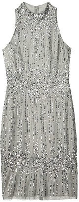 Adrianna Papell Beaded Pearl Cocktail Dress (Blue Mist) Women's Dress