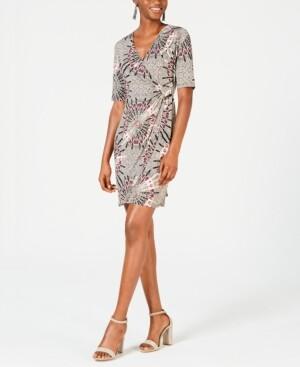 Connected Petite Medallion-Print Wrap Dress