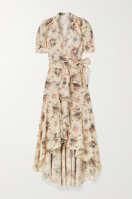 ANNA MASON Stella Floral-print Cotton-poplin Wrap Dress - Pastel pink