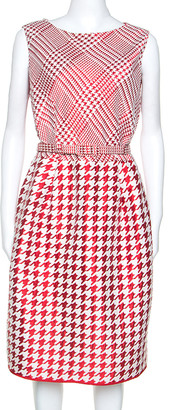 Carolina Herrera Red & White Houndstooth Dress Woven Belted Dress L