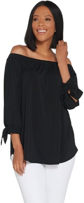 Du Jour Off-the- Shoulder Knit Top with Tie Sleeve Detail