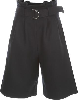 Ganni Wool Short Wide Leg Pants