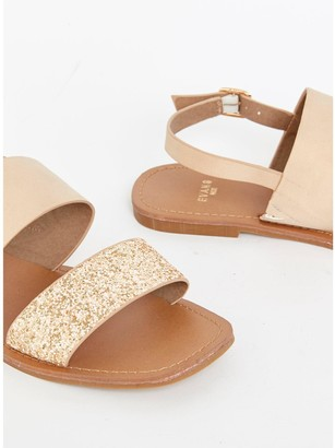 Evans Extra Wide Fit Two Part Simple Sandal - Nude