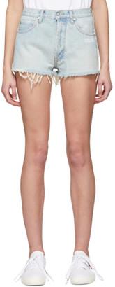 Off-White Blue Bleached Denim Shorts