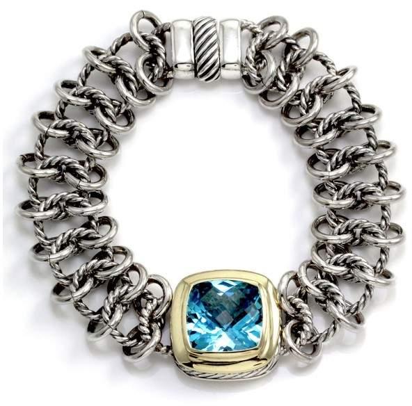"David Yurman Albion"" Sterling Silver & 18K Yellow Gold Blue Topaz Bracelet"