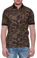 Dolce & Gabbana Pixel Camo-Print Short-Sleeve Polo Shirt, Olive