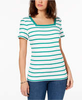 Karen Scott Cotton Square-Neck T-Shirt, Created for Macy's