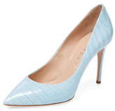 Casadei Embossed Leather Pointed-Toe Pump