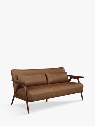 John Lewis & Partners Hendricks Medium 2 Seater Leather Sofa, Dark Wood Frame