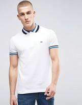 Lacoste Slim Fit Pique Polo 3 Colour Trim Croc Logo In White
