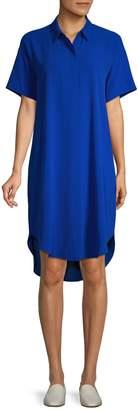 Eileen Fisher Petite Crepe Short-Sleeve Shirtdress