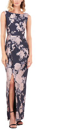 Kay Unger Cameron Textured Floral Jacquard Gown