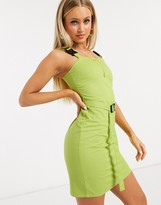 Daisy Street bodycon dress with buckle straps in green