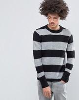 Cheap Monday Caught Knit Block Stripe Wool Mix Black