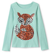Classic Little Girls Roll-Neck Embellished Graphic Knit Tee-Ballet Slippers